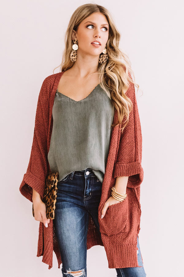 Weekend Out West Knit Cardigan In Dark Blush