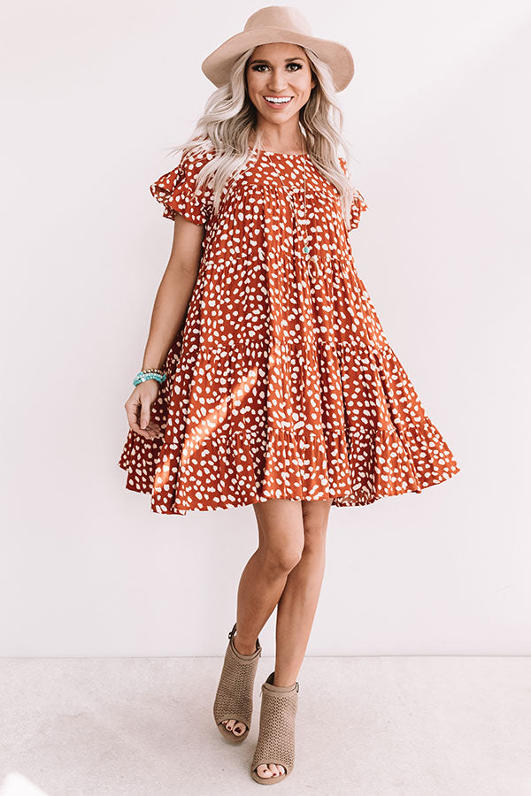Southern Sunset Babydoll Dress In Rust