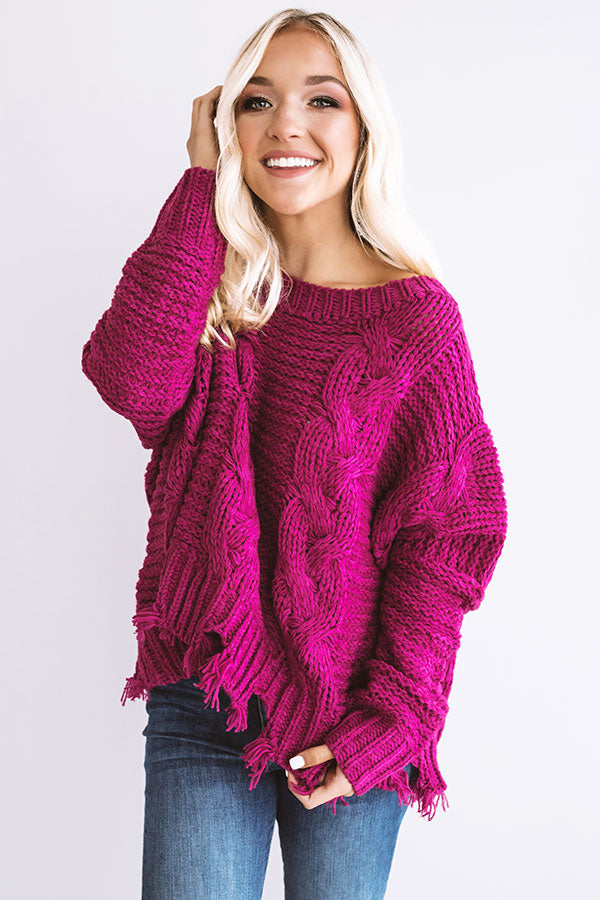 Blessed And Obsessed Cable Knit Sweater