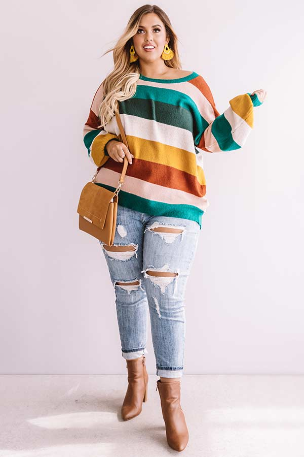 Pop Of Color Stripe Sweater In Emerald