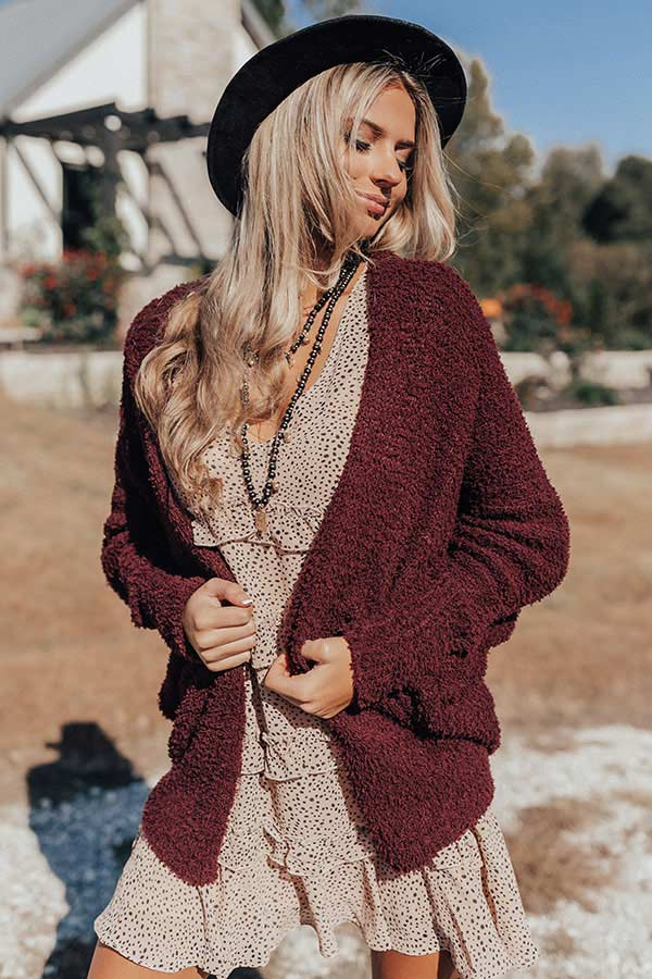 From Sunrise To Sunset Cardigan In Windsor Wine