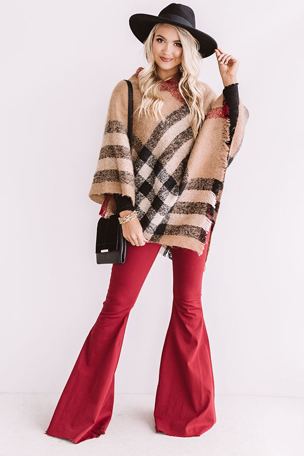 Make A Statement Plaid Poncho In Mocha