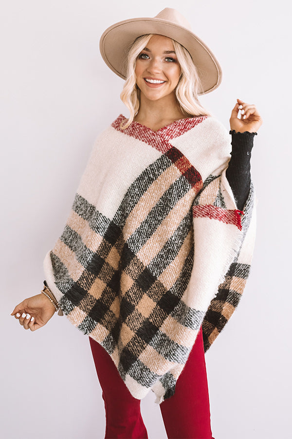 Make A Statement Plaid Poncho In Cream