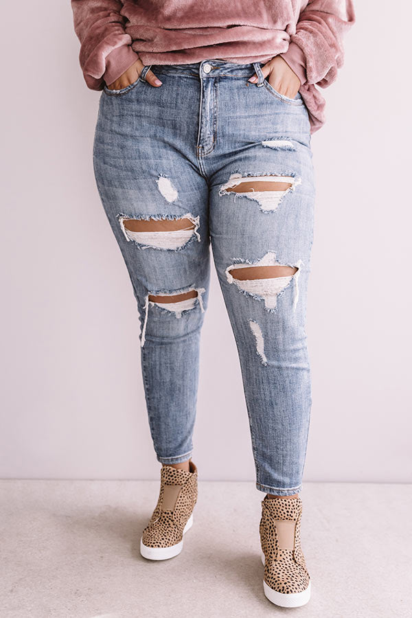 The Kinsley High Waist Distressed Relaxed Skinny In Medium Wash