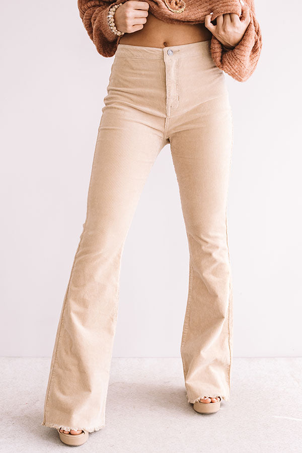 The Jasper High Waist Corduroy Flare In Khaki