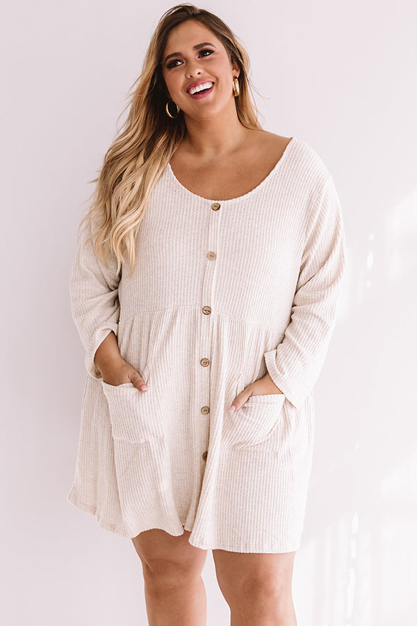 Bring On The Lattes Babydoll Tunic Dress In Cream