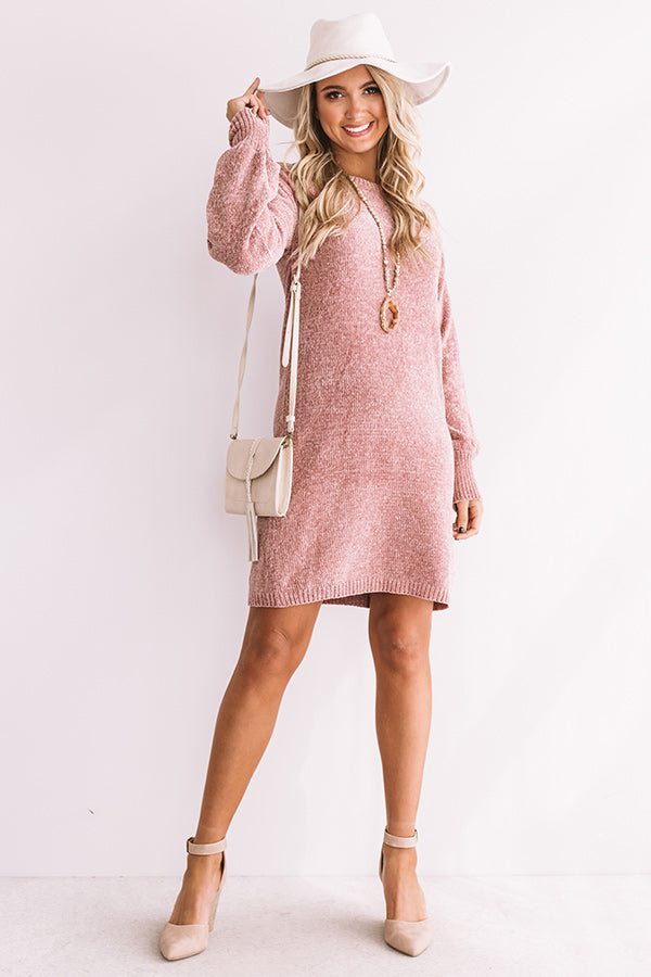 Chic Outlook Chenille Sweater Dress In Blush