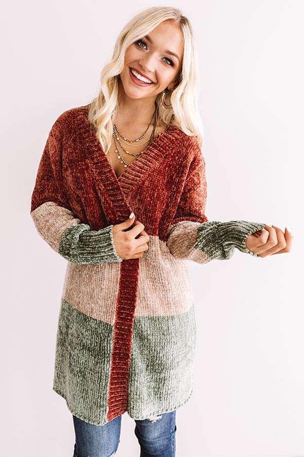 Cool And Collected Chenille Color Block Cardigan