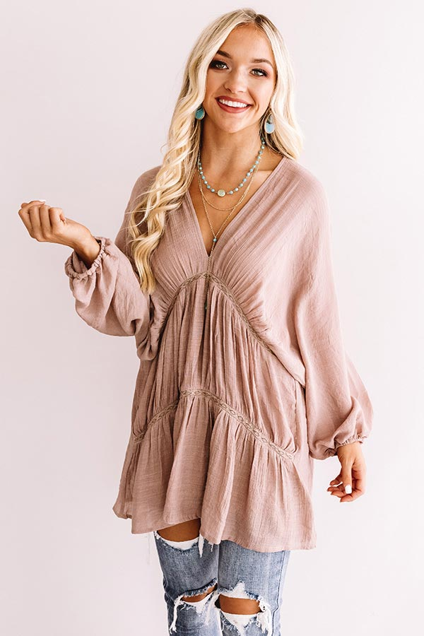 Napa Valley Vino Babydoll Tunic Dress In Dusty Purple