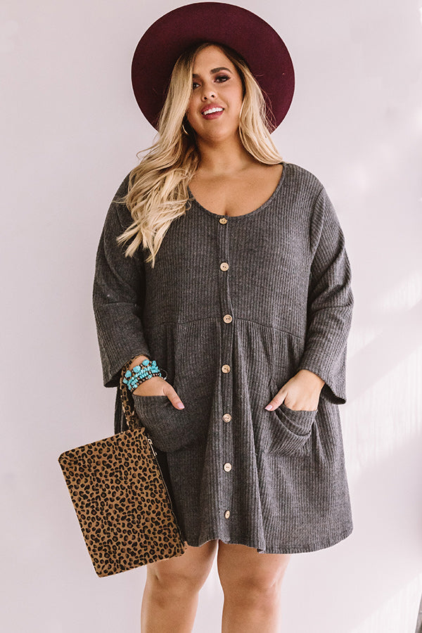 Bring On The Lattes Babydoll Tunic Dress In  Charcoal
