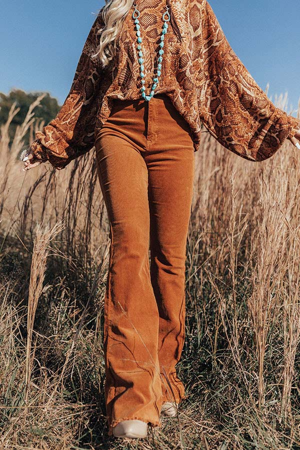 The Jasper High Waist Corduroy Flare In Copper