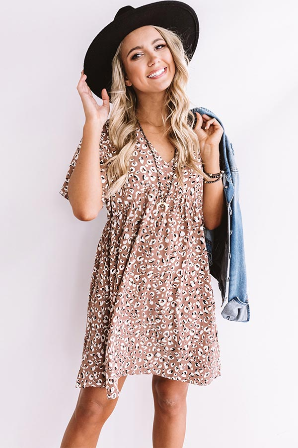 Alps And Kisses Leopard Babydoll Dress In Taupe