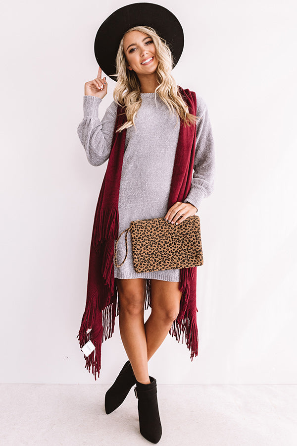 Chic Outlook Chenille Sweater Dress In Grey
