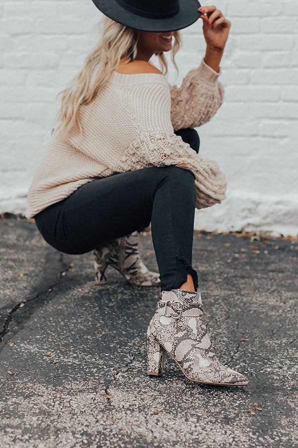 The Emmaline Snake Print Bootie