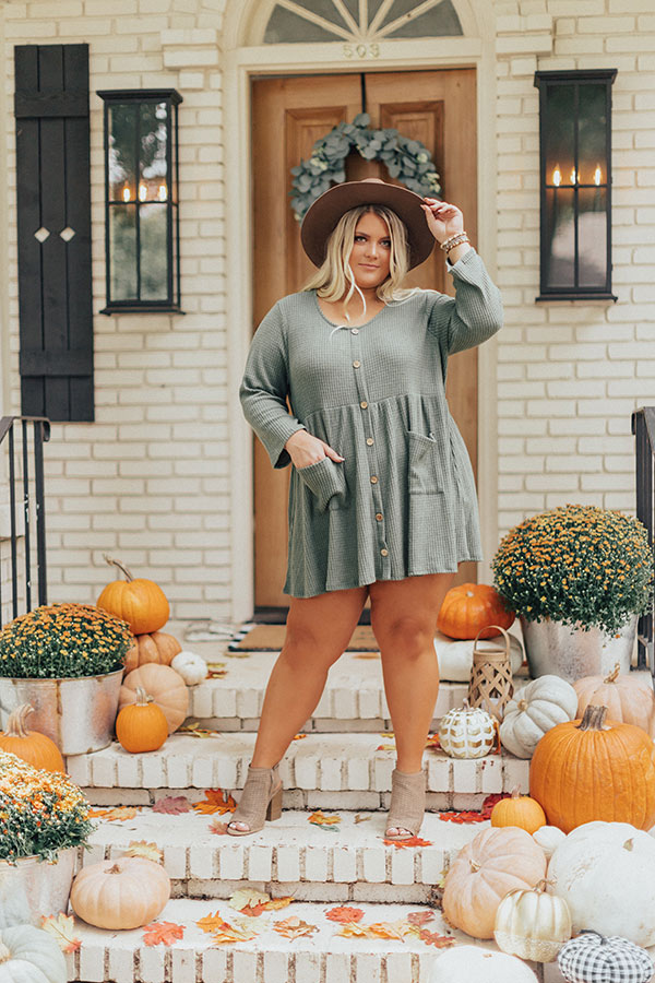 Bring On The Lattes Babydoll Tunic Dress In Olive