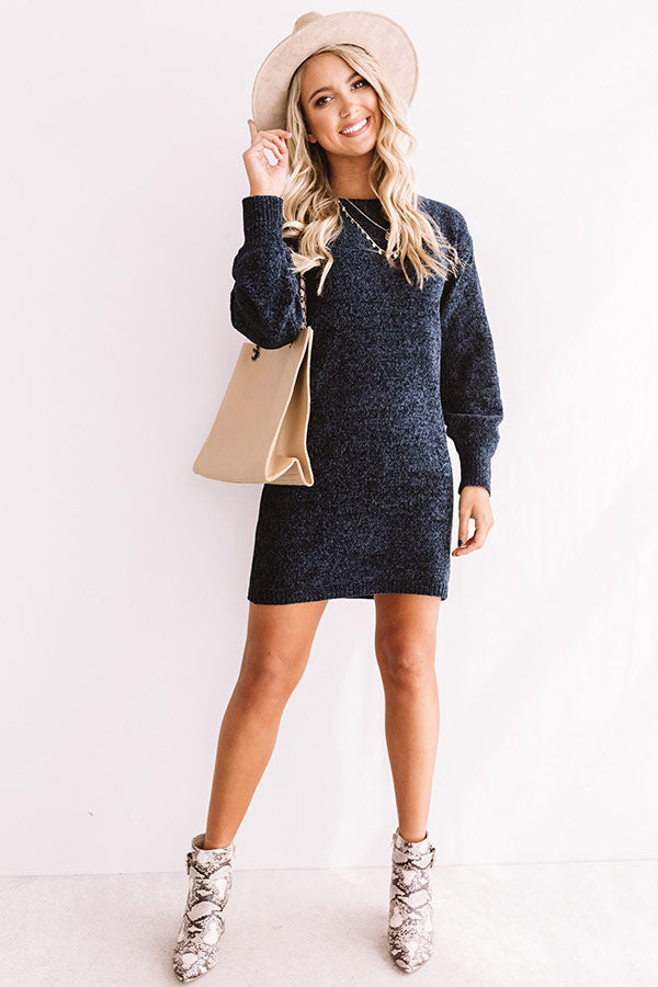 Chic Outlook Chenille Sweater Dress In Navy