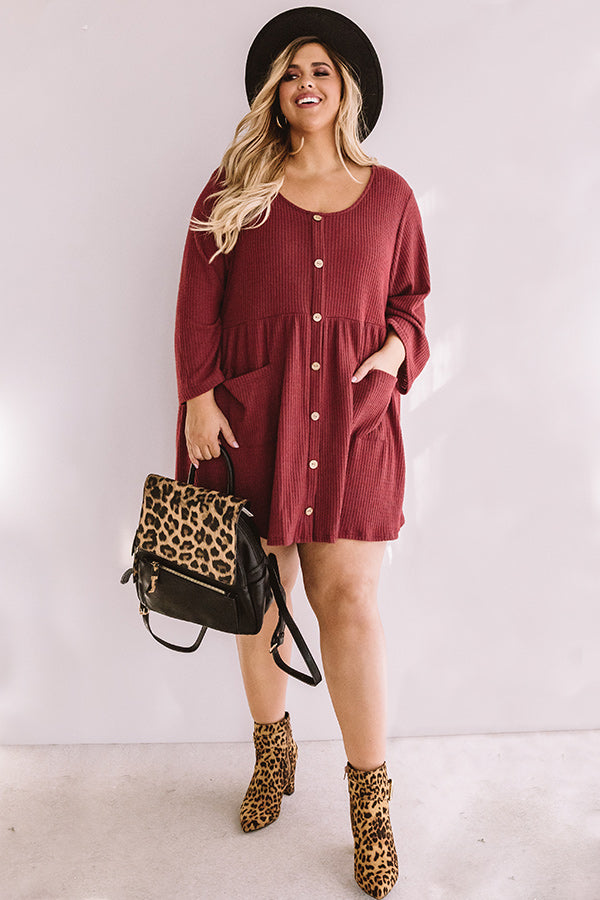 Bring On The Lattes Babydoll Tunic Dress In Aurora Red