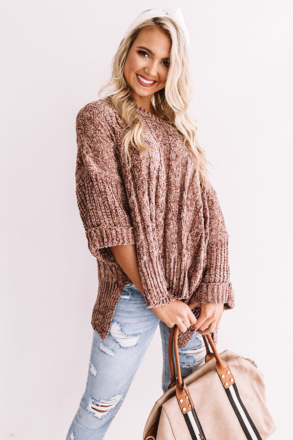 Chardonnay And Chic Chenille Sweater In Mocha