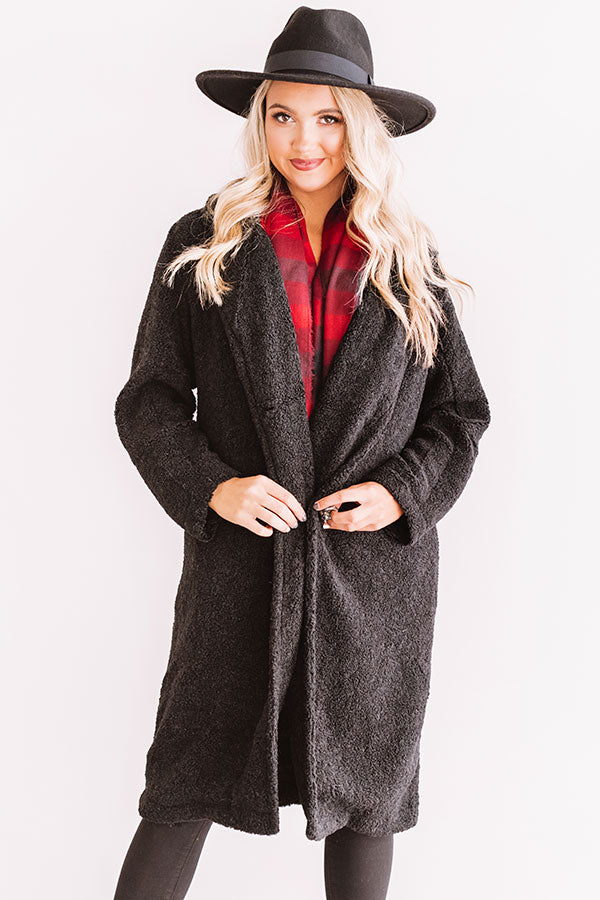 Front Page Worthy Sherpa Coat In Black