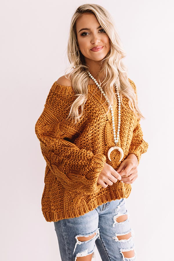 Wandering Through Winter Cable Knit Sweater In Pumpkin