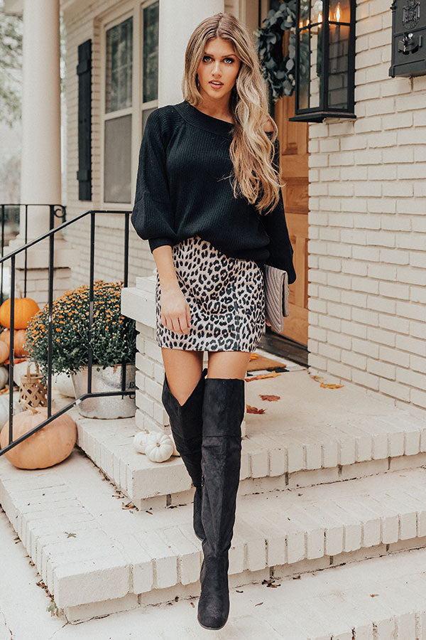 Ciao Bella Leopard Faux Suede Skirt
