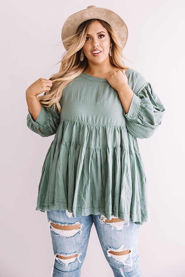 Everlasting Happiness Babydoll Top In Pear