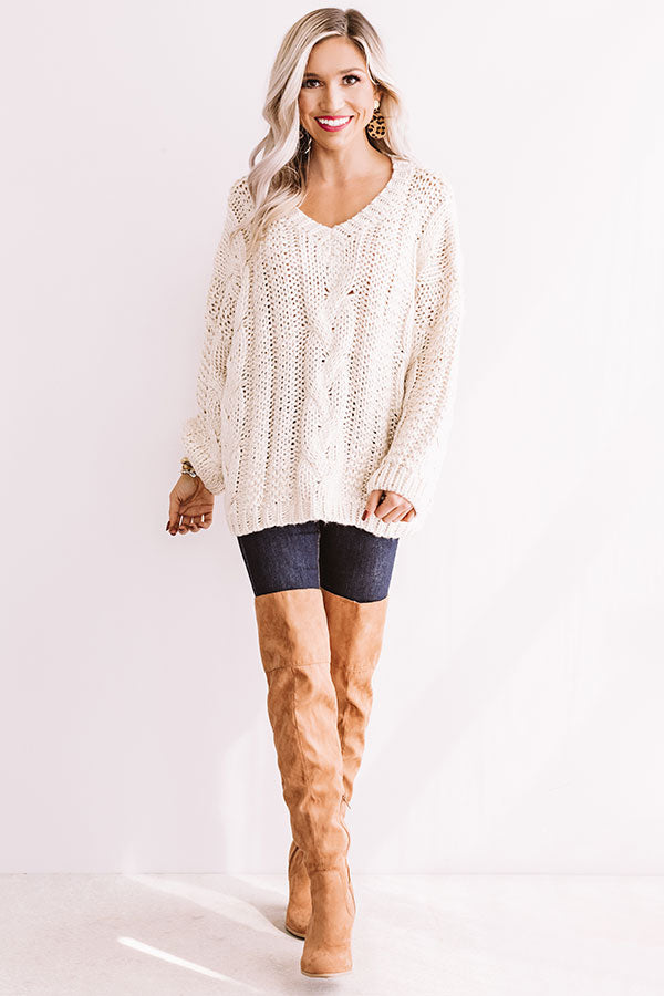 Wandering Through Winter Cable Knit Sweater In Ivory