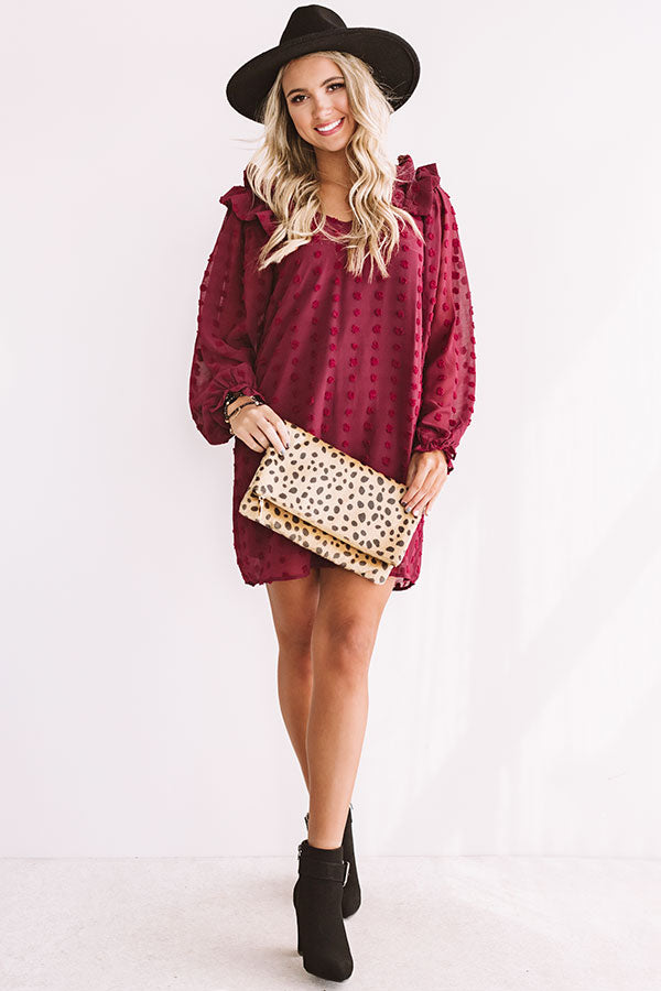 Romantic In Rome Shift Dress In Wine