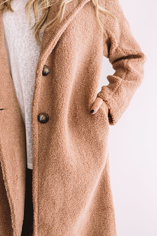 Front Page Worthy Sherpa Coat In Iced Mocha