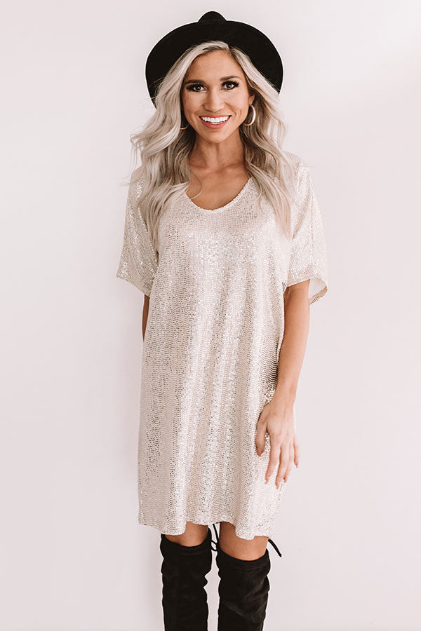Golden Girl Sequin Shift Dress