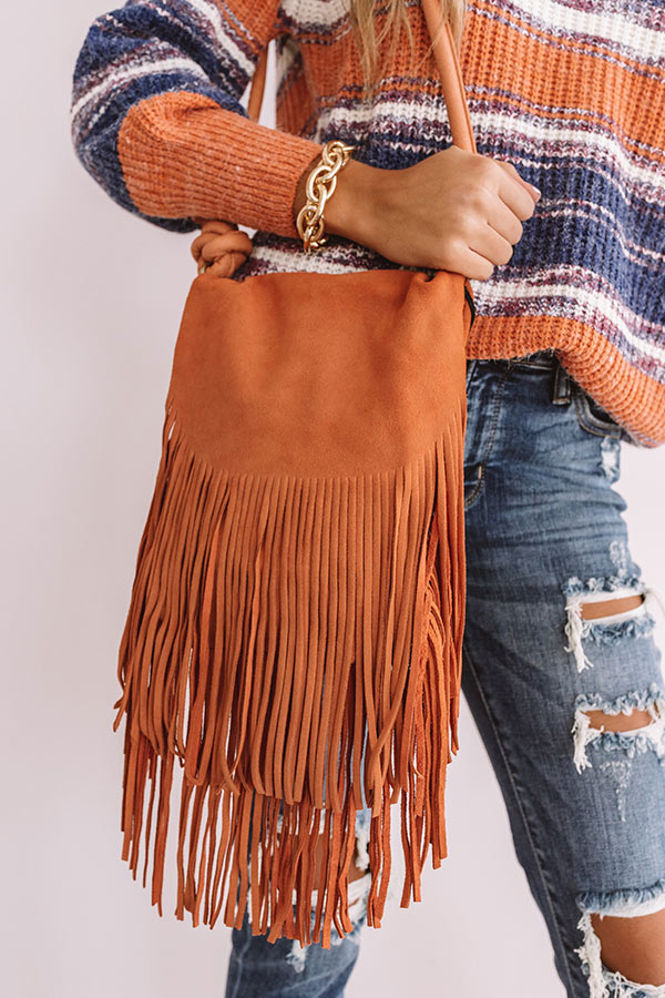 Spanish Coast Fringe Crossbody In Pumpkin