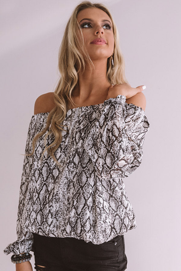 Flirty First Date Snake Print Top In Grey