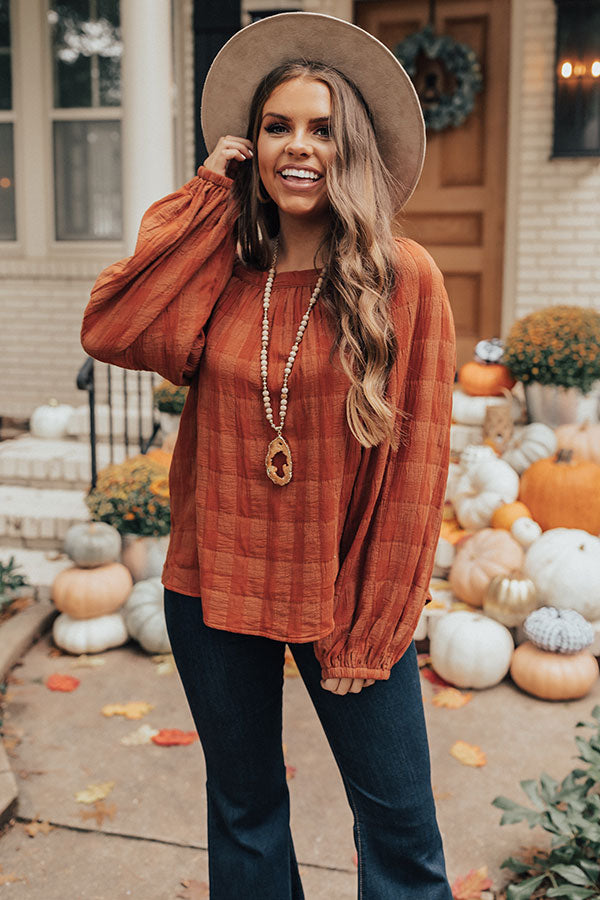 Vista Vacay Off Shoulder Top In Rust