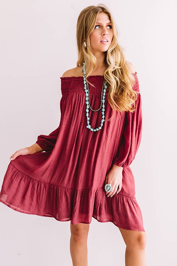 West Village Off Shoulder Shift Dress In Wine