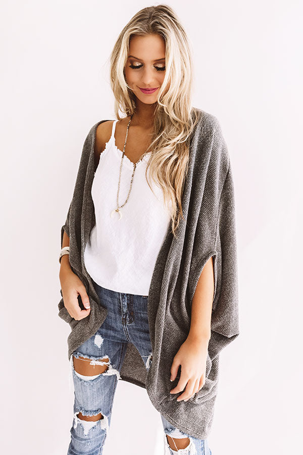 Cue The Cuddles Knit Cardigan In Dark Martini Olive