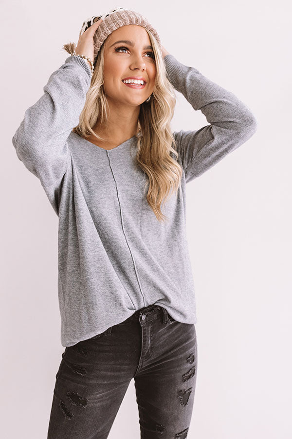 Wine And Kisses Shift Sweater In Light Slate