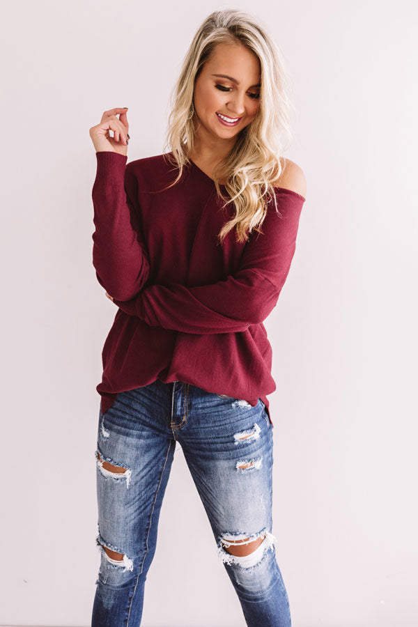 Wine And Kisses Shift Sweater In Maroon