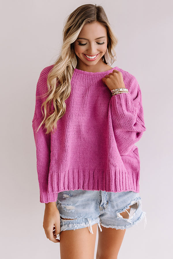 Turn Back Time Open Back Sweater in Violet