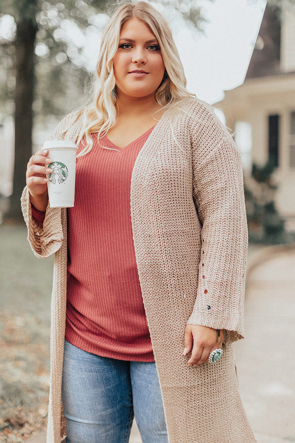Clear Skies Knit Cardigan In Iced Latte