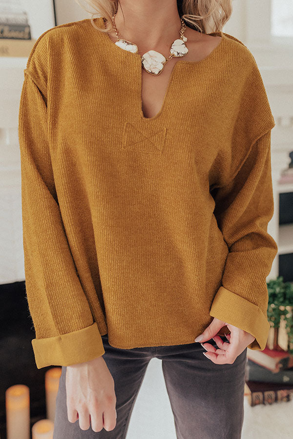 Dreams Of Snow Ribbed Shift Top In Mustard