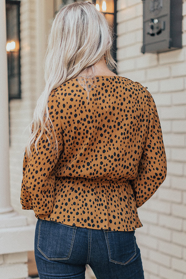 London Lady Leopard Ruffle Top