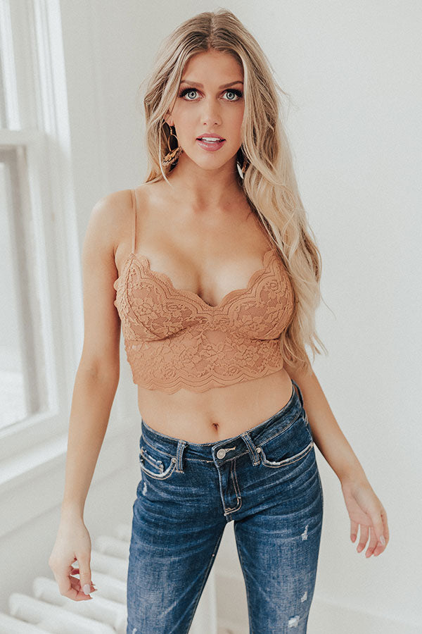 Free And Fearless Longline Lace Bralette In Iced Mocha