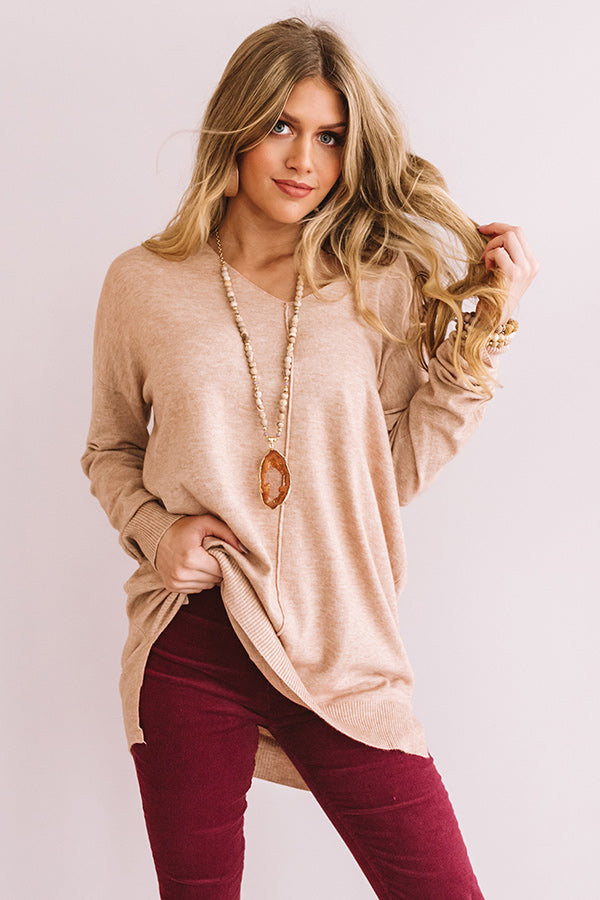 Wine And Kisses Shift Sweater In Iced Latte