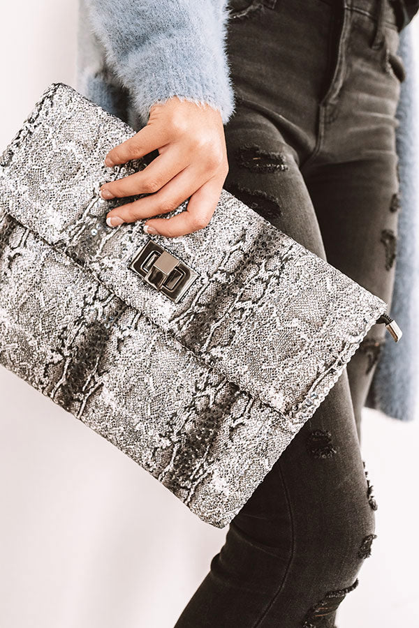 Hey, Showstopper Snake Print Clutch