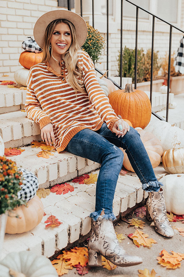 Coffee Confessions Chenille Stripe Sweater