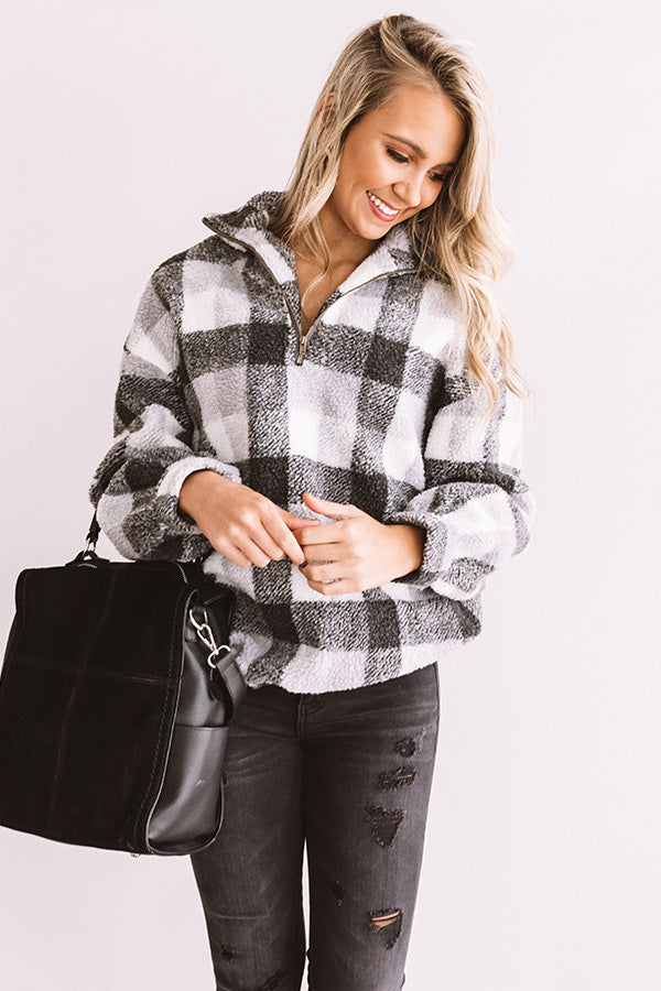 Perfect N' Plaid Sherpa Pullover In Grey