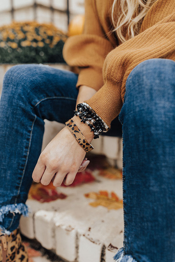 Glitz On The Go Leopard Bracelet Set in Black