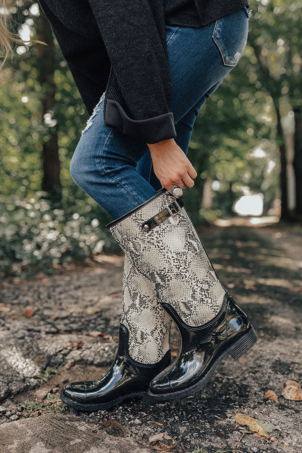 The Khloe Snake Print Rain Boot