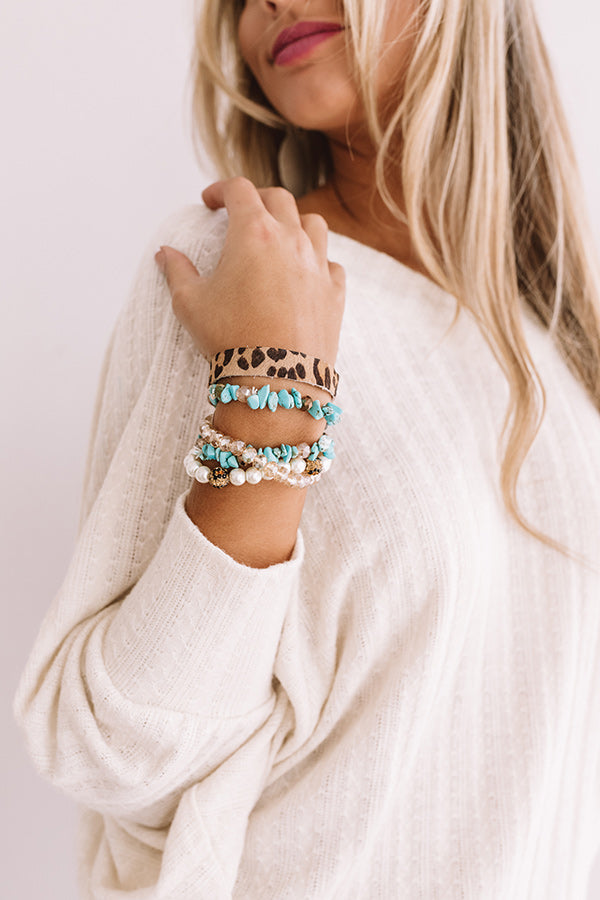 Glitz On The Go Leopard Bracelet Set in Turquoise