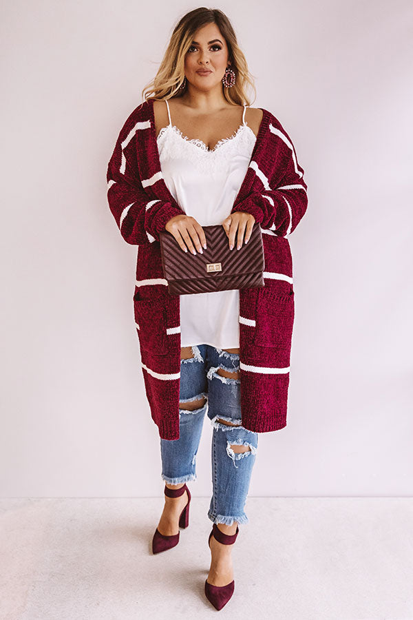 Coffee Shop Cuddles Chenille Stripe Cardigan In Wine
